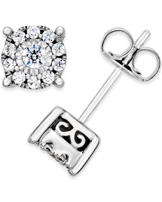Macy's - Metallic Diamond Halo Stud Earrings (1/3 Ct. T.w.) In 14k White Gold - Lyst