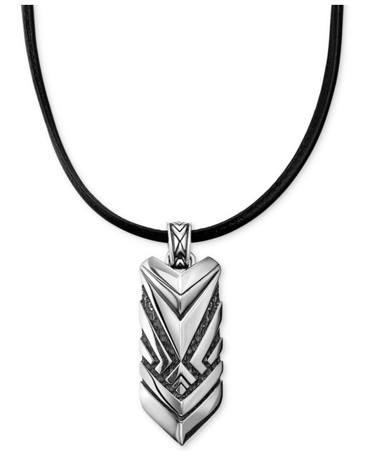 Scott Kay - Metallic Men's Black Leather Cord Chevron Pendant Necklace In Sterling Silver for Men - Lyst