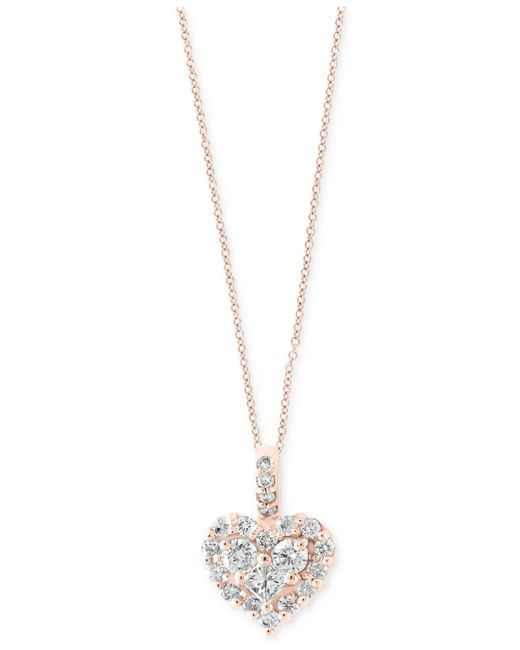 Macy's - Metallic Diamond Heart Pendant Necklace In 14k White Gold Or Rose Gold (5/8 Ct. T.w.) - Lyst