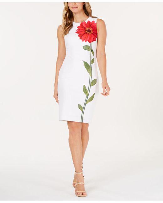 1e9835077d Calvin Klein - Multicolor Single Flower Sheath Dress - Lyst ...