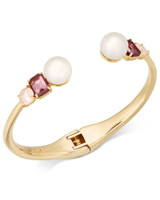 Kate Spade   Metallic Gold-tone Imitation Pearl & Crystal Hinged Bangle Bracelet   Lyst