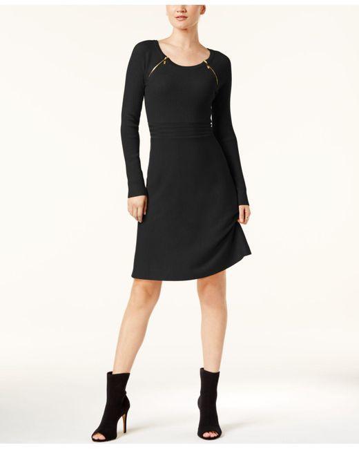 INC International Concepts - Black Zipper-shoulder Ribbed Dress - Lyst