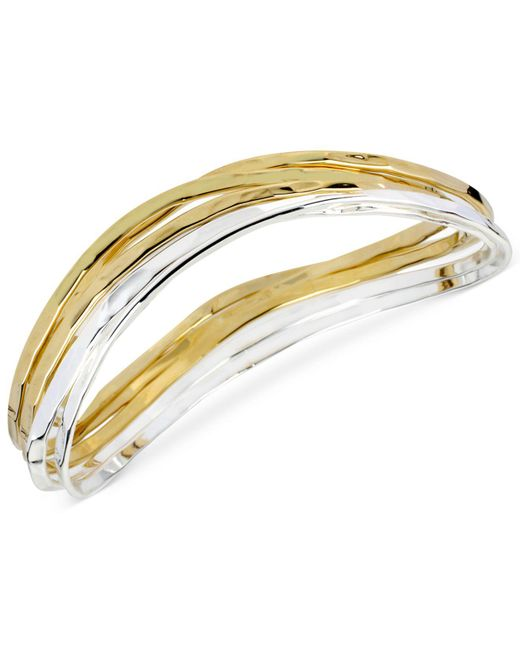 Robert Lee Morris - Metallic Two-tone Bangle Bracelet Set - Lyst