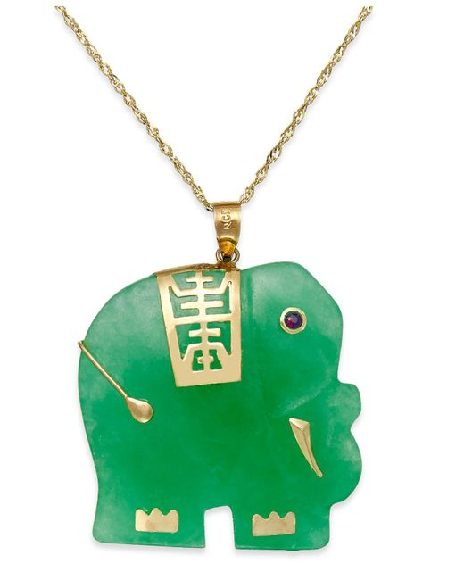 Macy's - Green Dyed Jade Elephant Pendant Necklace In 14k Gold (25mm) - Lyst
