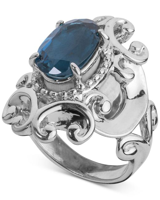 Carolyn Pollack - Metallic London Blue Topaz Filigree Statement Ring (3-1/3 Ct. T.w.) In Sterling Silver - Lyst