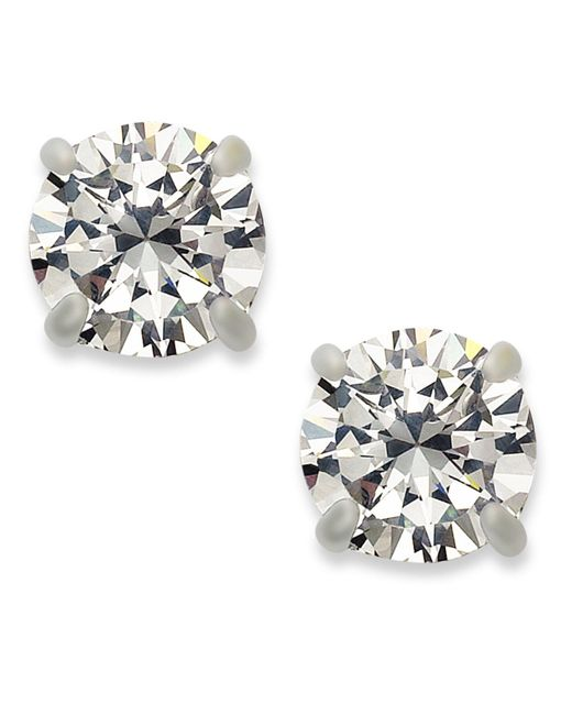 INC International Concepts | Metallic Silver-tone Round Cubic Zirconia Stud Earrings (4 Ct. T.w.) | Lyst