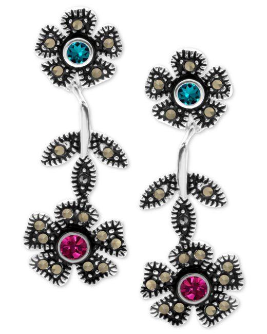 Macy's - Metallic Crystal & Marcasite Flower Drop Earrings In Fine Silver-plate - Lyst