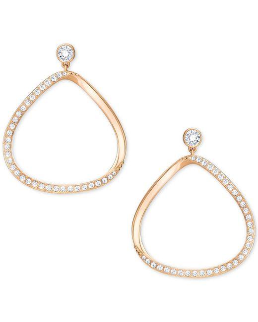 """Swarovski - Metallic Gaya Asymmetrical Pavé 1-5/8"""" Hoop Earrings - Lyst"""
