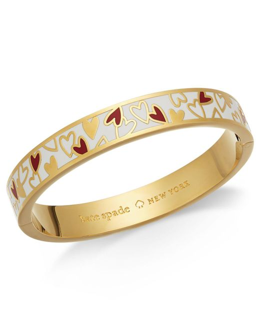 Kate Spade - Metallic Gold-tone Colored Heart Bangle Bracelet - Lyst