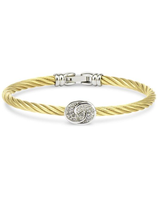 Charriol - Metallic White Topaz Knot Bangle Bracelet (1/4 Ct. T.w.) In Sterling Silver & Stainless Steel With Gold Pvd - Lyst