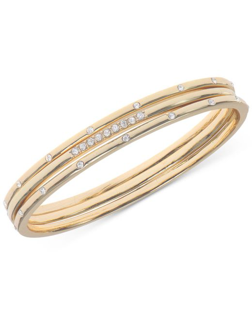 Anne Klein - Metallic Gold-tone Crystal Studded Bracelet - Lyst