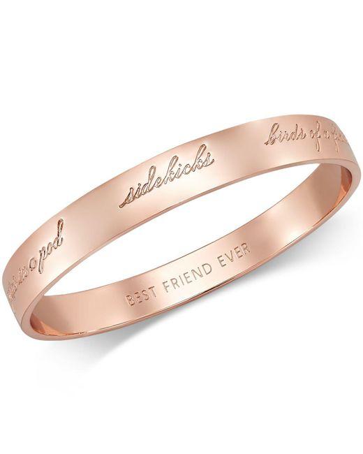 Kate Spade - Pink Rose Gold-tone Bridesmaid Bangle Bracelet - Lyst
