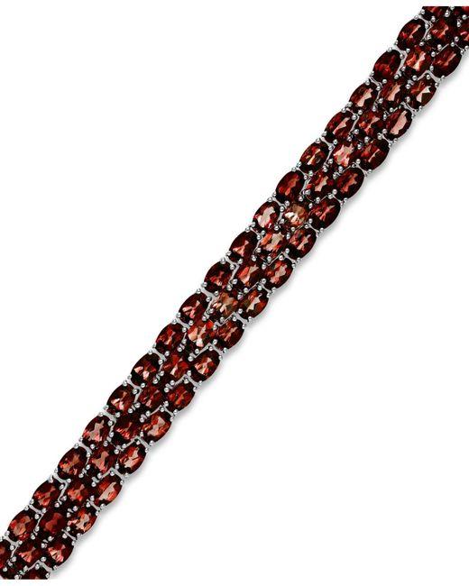 Macy's - Metallic Garnet Three-row Bracelet In Sterling Silver (25 Ct. T.w.) - Lyst