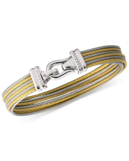 Charriol | Metallic Women's Brilliant Two-tone Pvd Stainless Steel Cable Bangle Bracelet | Lyst
