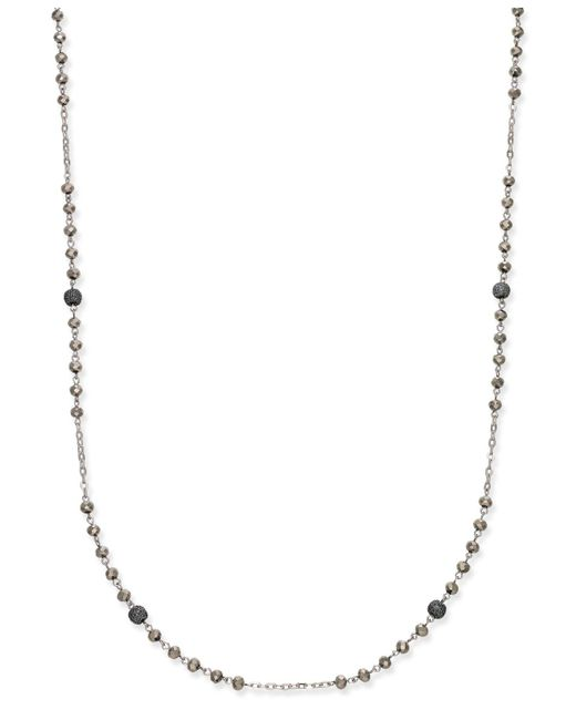 INC International Concepts - Metallic Two-tone Pavé Beaded Station Necklace - Lyst