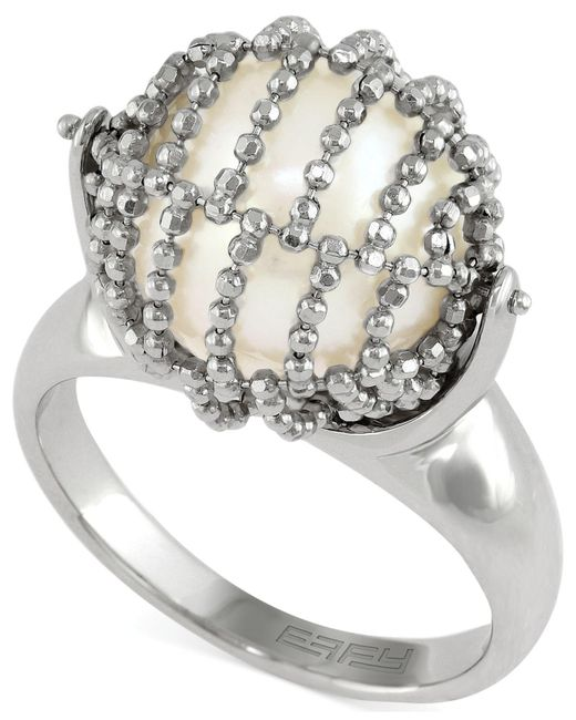 Effy Collection - Metallic Cultured Freshwater Pearl Mesh Ring In Sterling Silver (11-1/2mm) - Lyst
