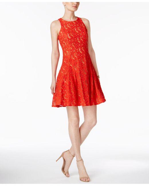 Ivanka Trump   Red Lace Fit & Flare Dress   Lyst