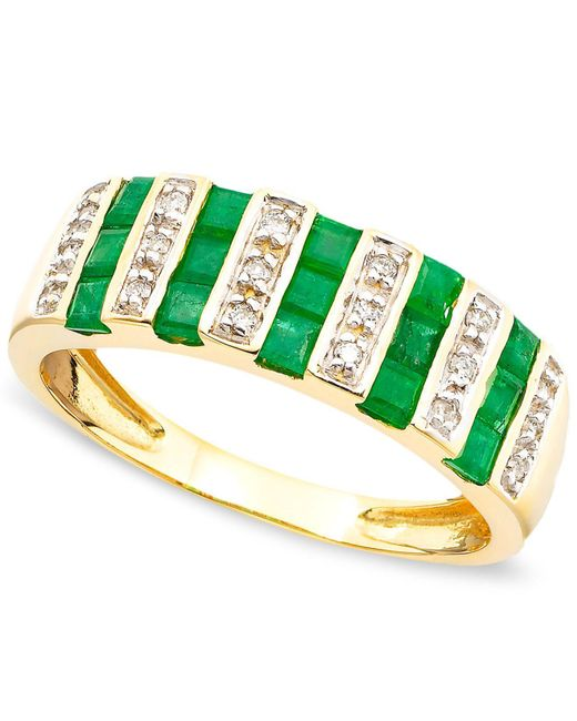 Macy's - Green Gemstone (9/10 Ct. T.w.) And Diamond (1/10 Ct. T.w.) Ring In 14k Gold Or White Gold - Lyst