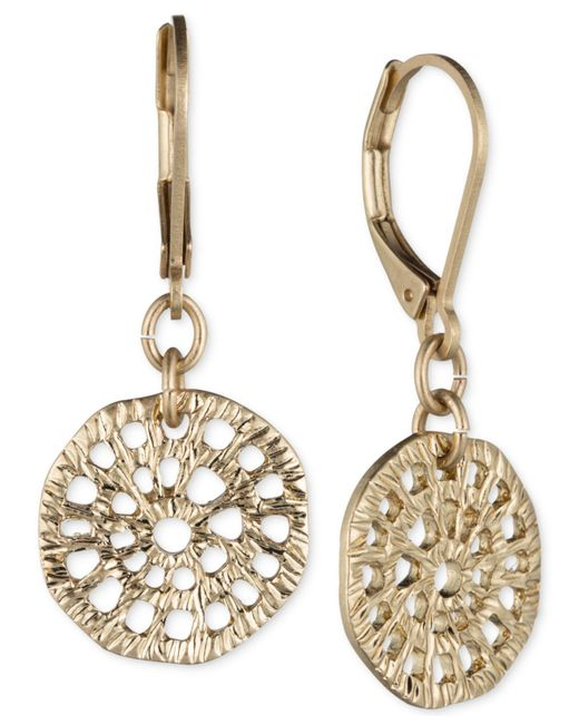 Lonna & Lilly - Metallic Gold-tone Textured Disc Drop Earrings - Lyst