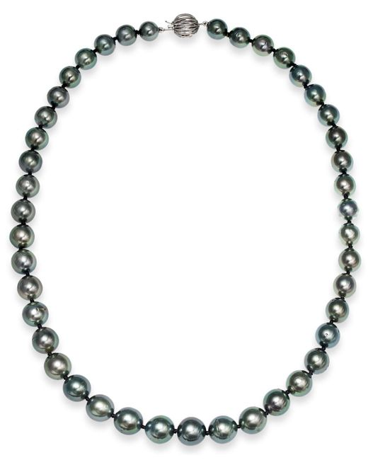 Macy's - Multicolor Tahitian Pearl Strand Necklace In 14k White Gold (8mm) - Lyst
