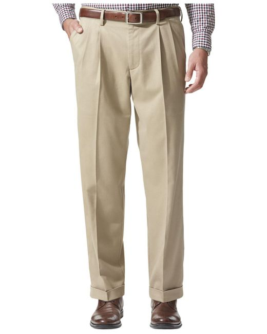Dockers   Natural Relaxed Fit Comfort Khaki Pleated Pants for Men   Lyst