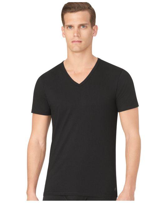 Calvin Klein - Black Men's Slim-fit V-neck T-shirt 3-pack for Men - Lyst