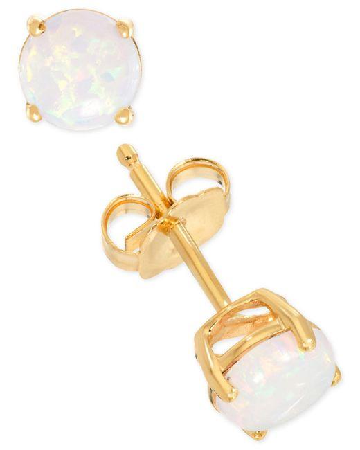 Macy's - Metallic Lab-created Opal Stud Earrings (1/3 Ct. T.w.) In 14k Gold - Lyst