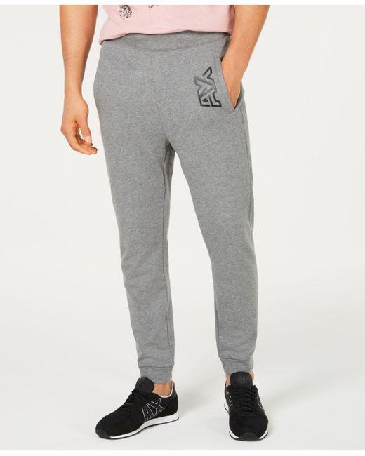9a554e56 Armani Exchange - Gray Logo Fleece Joggers for Men - Lyst ...
