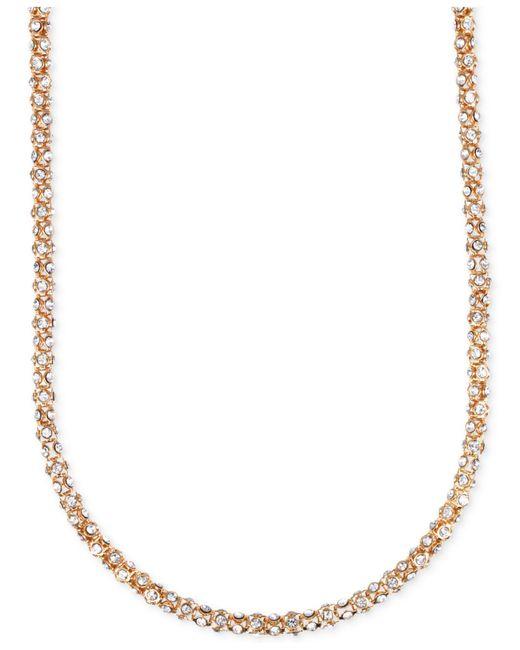 Anne Klein - Metallic Silver-tone Crystal Pavé Tubular Strand Necklace - Lyst