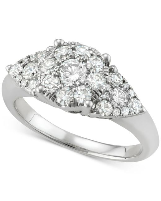 Macy's - Metallic Diamond Cluster Ring (1-1/4 Ct. T.w.) In 14k White Gold - Lyst