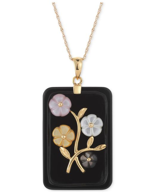Macy's | Black Jade Or Onyx Carved Flower Pendant Necklace (25x38mm) In Gold-plated Sterling Silver | Lyst