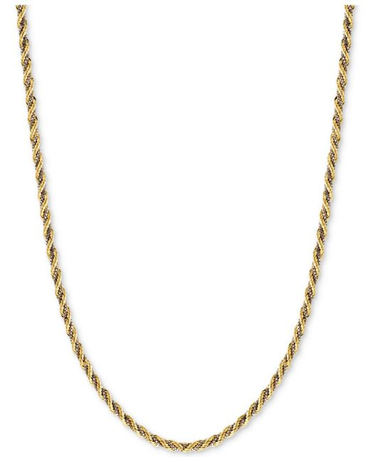 Macy's | Metallic Two-tone Twisted Box-link Rope Chain Necklace In 14k White And Yellow Gold | Lyst