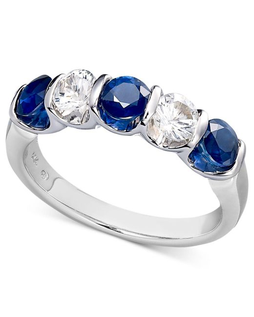 Macy's | Metallic Sterling Silver Ring, Blue And White Sapphire Channel Set Ring (1-3/4 Ct. T.w.) | Lyst