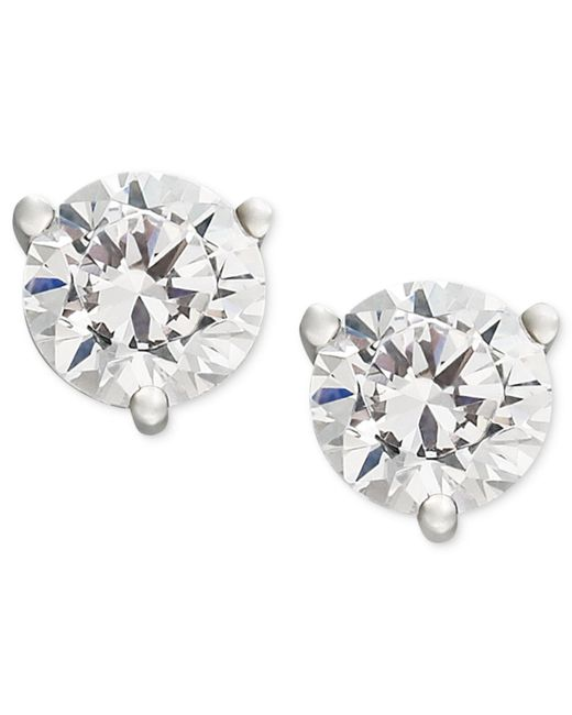 Macy's | Near Colorless Certified Diamond Stud Earrings In 18k White Or Yellow Gold (1 Ct. T.w.) | Lyst