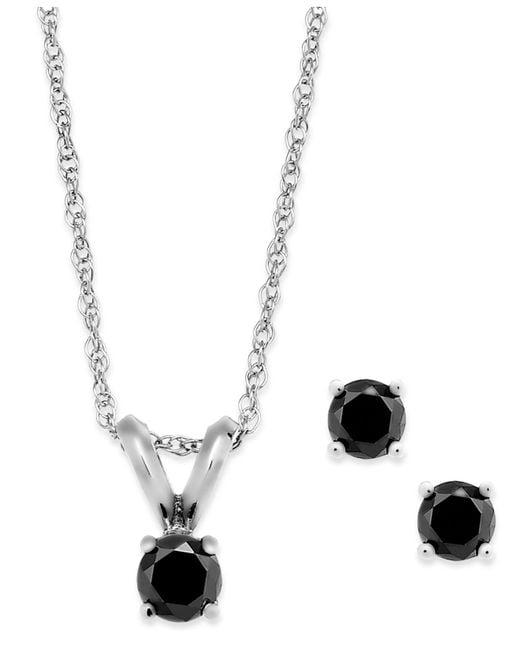 Macy's | Black Diamond Jewelry Set In 10k White Gold (1/5 Ct. T.w.) | Lyst