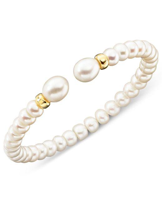 Macy's | Metallic Cultured Freshwater Pearl Rondelle Bracelet In 14k Gold | Lyst