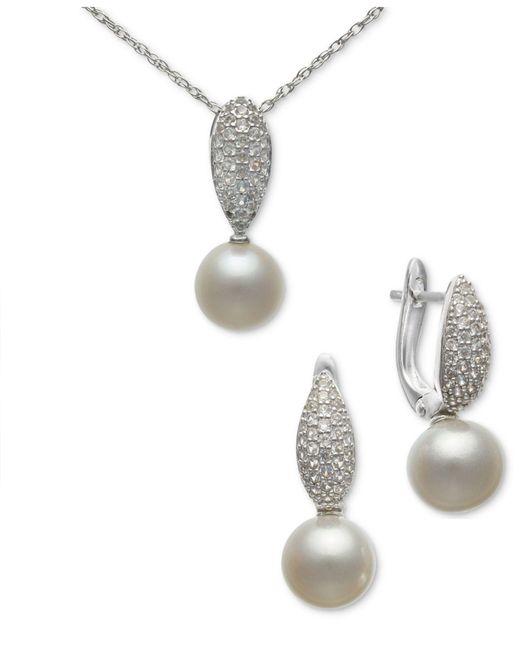7eac8e6ea Macy's - Metallic 2-pc. Set Cultured Freshwater Pearl (9mm) & White ...