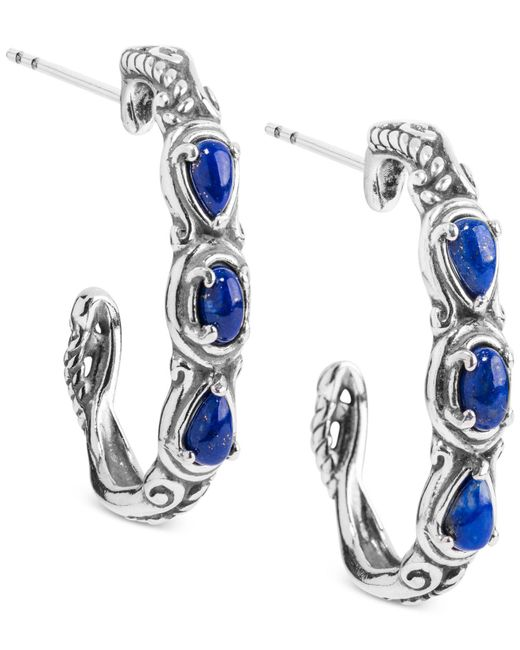 Carolyn Pollack - Metallic Lapis Lazuli Hoop Earrings (1 Ct. T.w.) Hoop Earrings In Sterling Silver - Lyst