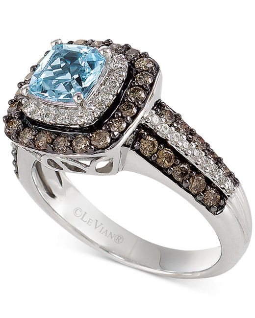 Le Vian - Blue Aquamarine (3/4 Ct. T.w.) And Chocolate Diamonds® (3/4 Ct. T.w.) In 14k White Gold - Lyst