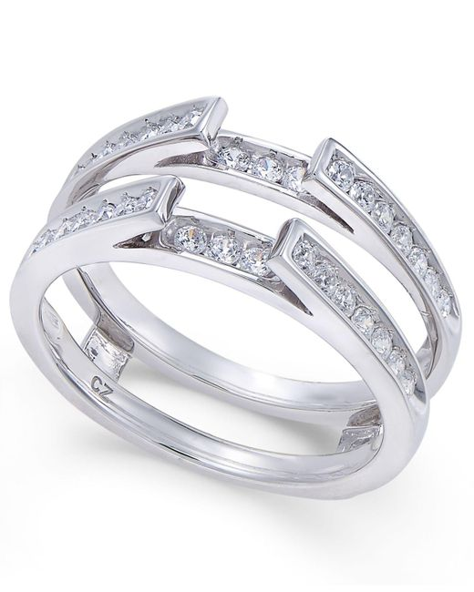 Macy's - Metallic Diamond Channel-set Solitaire Enhancer Ring Guard (1/2 Ct. T.w.) In 14k White Gold - Lyst