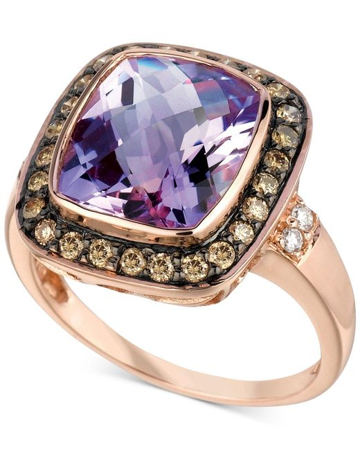 Le Vian   Purple ® Amethyst (4-1/2 Ct. T.w.) And Diamond (1/3 Ct. T.w.) Ring In 14k Rose Gold   Lyst