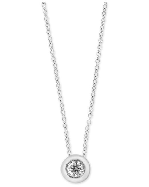 Effy Collection | Metallic Diamond Bezel Solitaire Pendant Necklace (1/5 Ct. T.w.) | Lyst