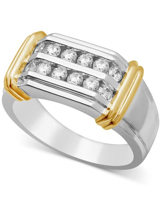 Macy's - Metallic Men's Diamond Two-row Ring (3/4 Ct. T.w.) In Sterling Silver And 10k Gold - Lyst