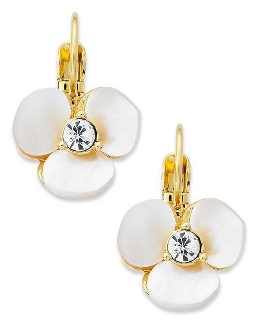 Kate Spade - White Earrings, Gold-tone Cream Disco Pansy Flower Leverback Earrings - Lyst