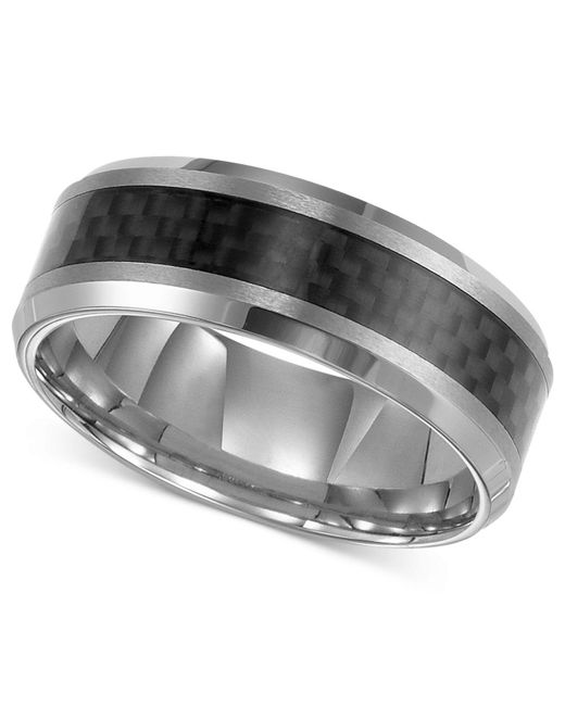Triton - Men's Tungsten Carbide Ring, Black Carbon Fiber Stripe Wedding Band for Men - Lyst