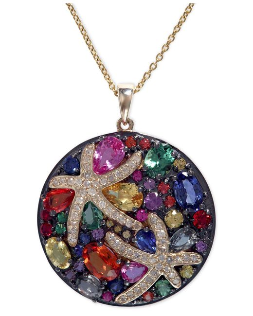 Effy Collection   Multicolor Sapphire (5-3/8 Ct. T.w.) And Diamond (1/4 Ct. T.w.) Starfish Pendant In 14k Gold   Lyst
