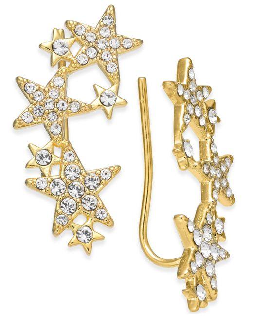 Kate Spade - Metallic 14k Gold-plated Pavé Star Ear Climbers - Lyst