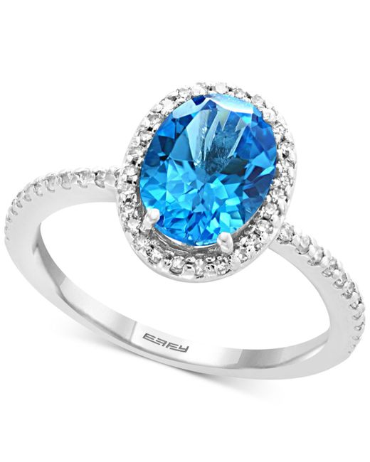 Effy Collection - Effy® Blue Topaz (2-1/4 Ct. T.w.) & Diamond (1/4 Ct. T.w.) Ring In 14k White Gold - Lyst