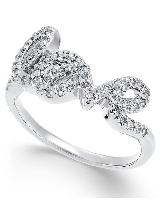 Joan Boyce - White Crystal Love Script Ring - Lyst