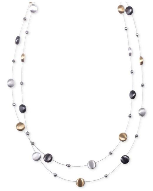 Nine West - Metallic Tri-tone Layer Necklace - Lyst